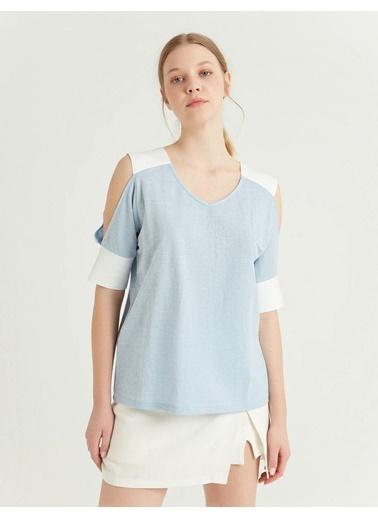 BGN Buz Mavisi - Kontrastlı Bluz Mavi